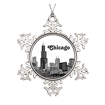 355x355 Chicago Skyline Etched Ceramic Round Christmas
