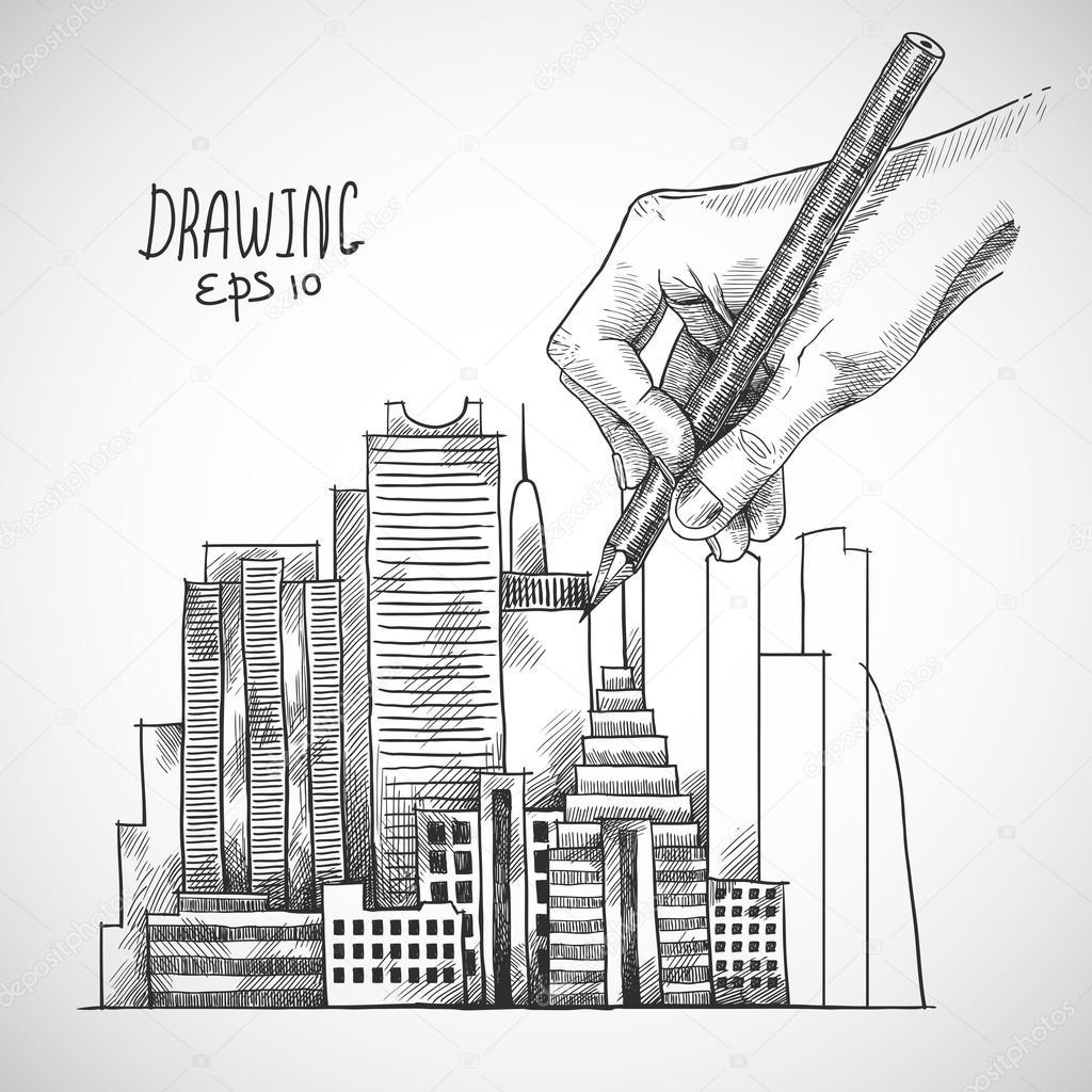 1024x1024 Hand Drawing Building Stock Vector Macrovector