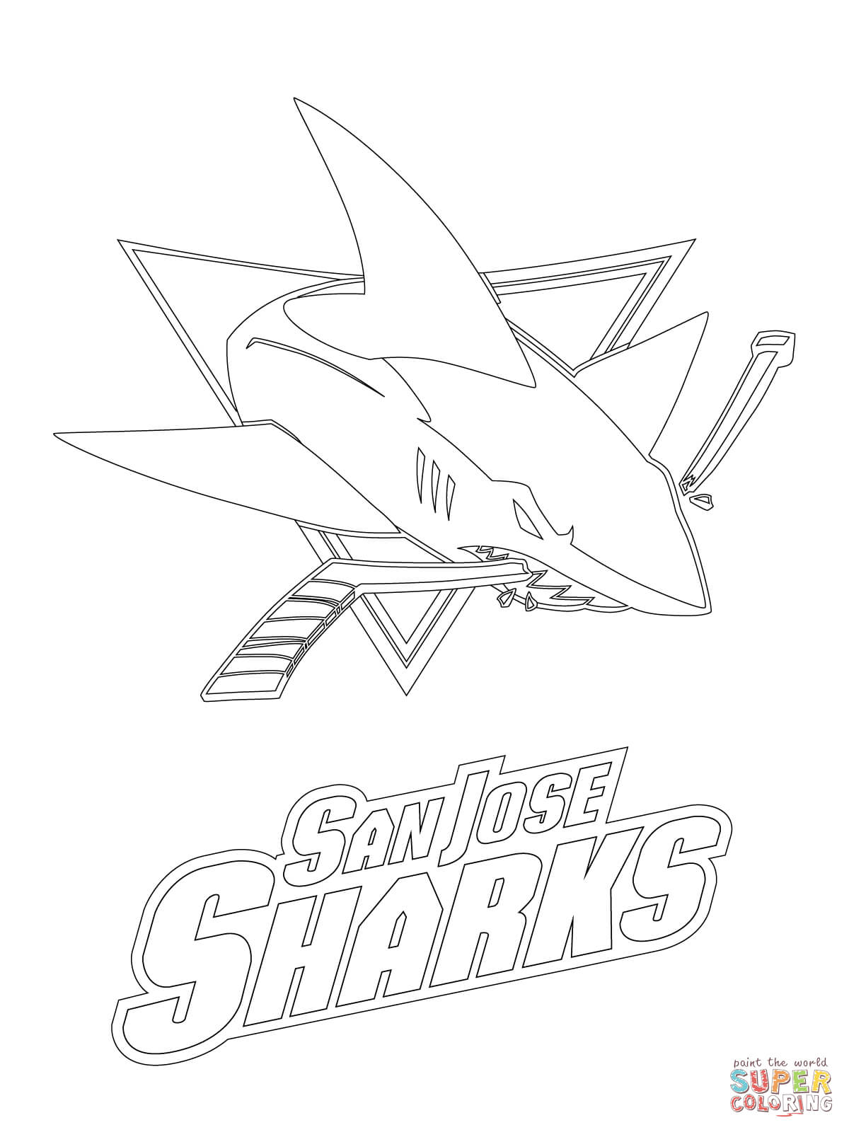 1200x1600 San Jose Sharks Logo Coloring Page Free Printable Pages