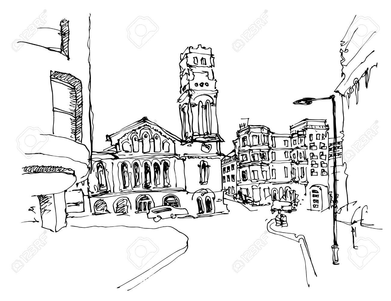 1300x1000 Black And White Ink Sketch Drawing Of Famous Place In London
