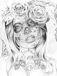 236x317 Sugar Skull On Gangster Girl, Drawing Ideas