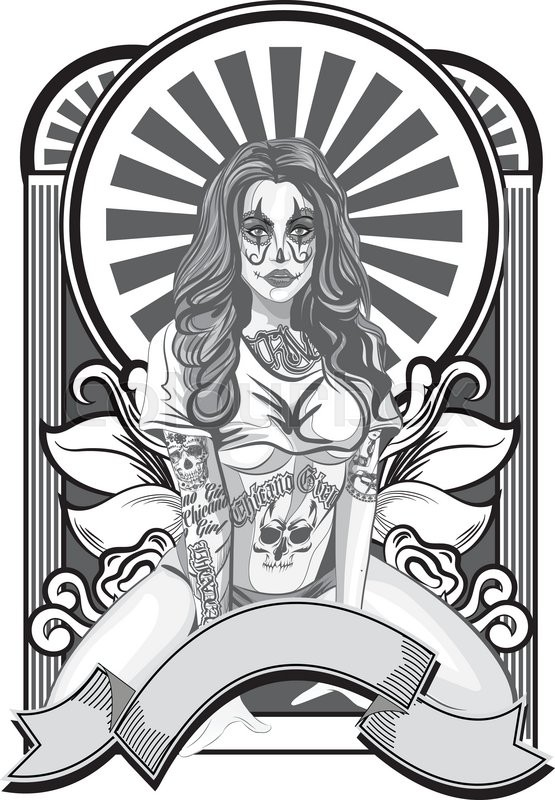 555x800 Vector Illustration Of A Beautiful Woman.chicano Tatoo Style