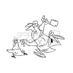 300x300 Royalty Free Chuck The Cartoon Butcher Chasing A Chicken Black