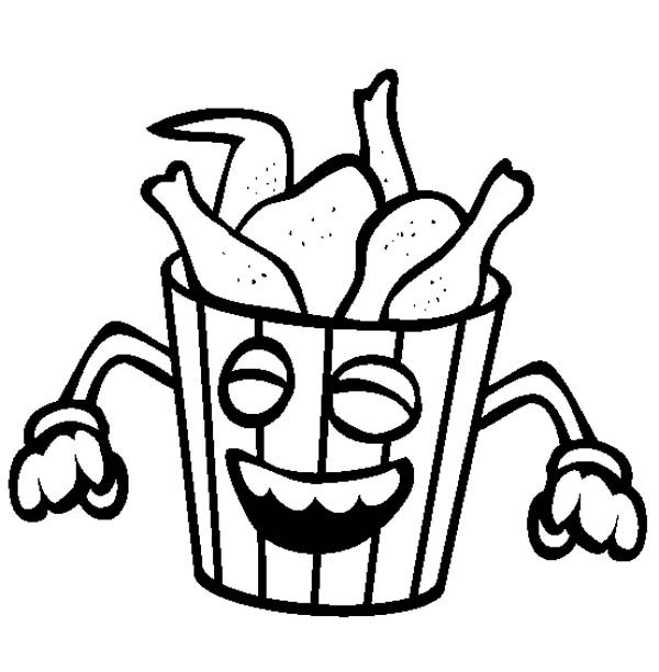600x612 Junk Food Smiling Fried Chicken Coloring Page Junk Food Smiling
