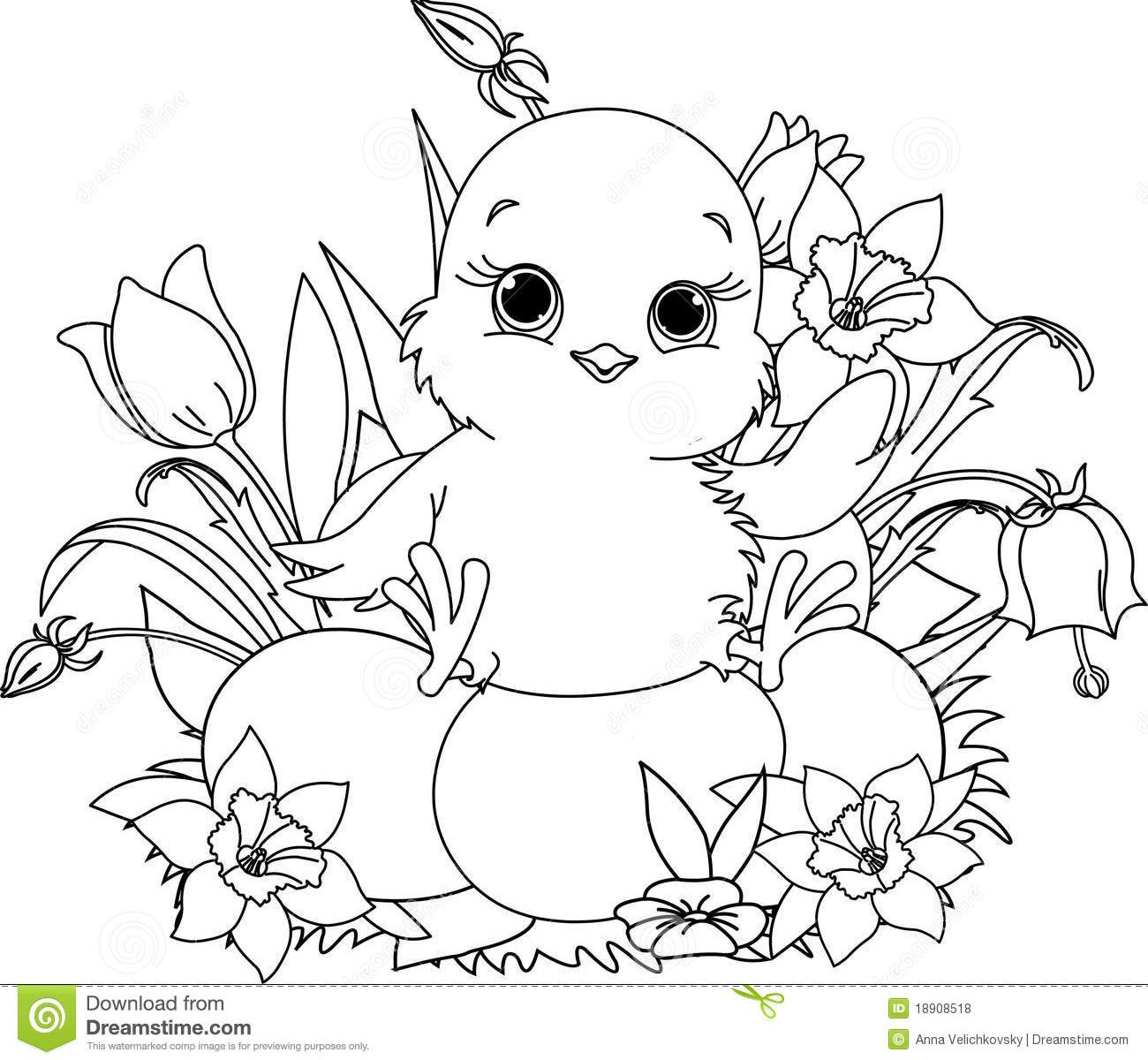 1300x1200 Baby Chick Coloring Page In Flowers Printable Animals Free Easter