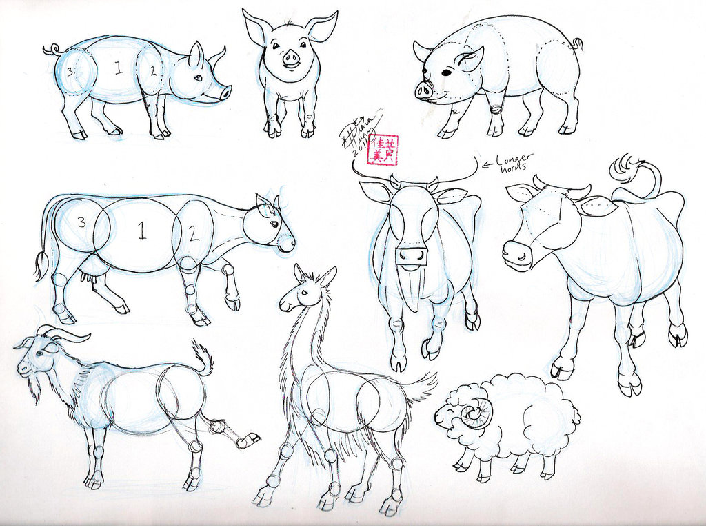 1024x762 Draw Pig Cow Goat And Sheep By ~diana Huang On (Oink