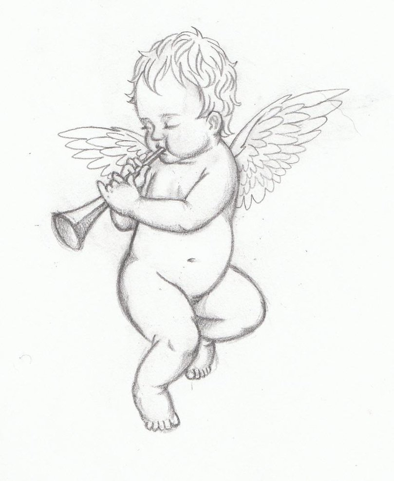 809x987 Baby Angel Drawings Baby Angel Tattoos Designs With Meanings