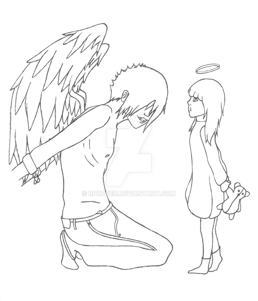 828x966 Fallen Angel And Child Lineart By Rpopper