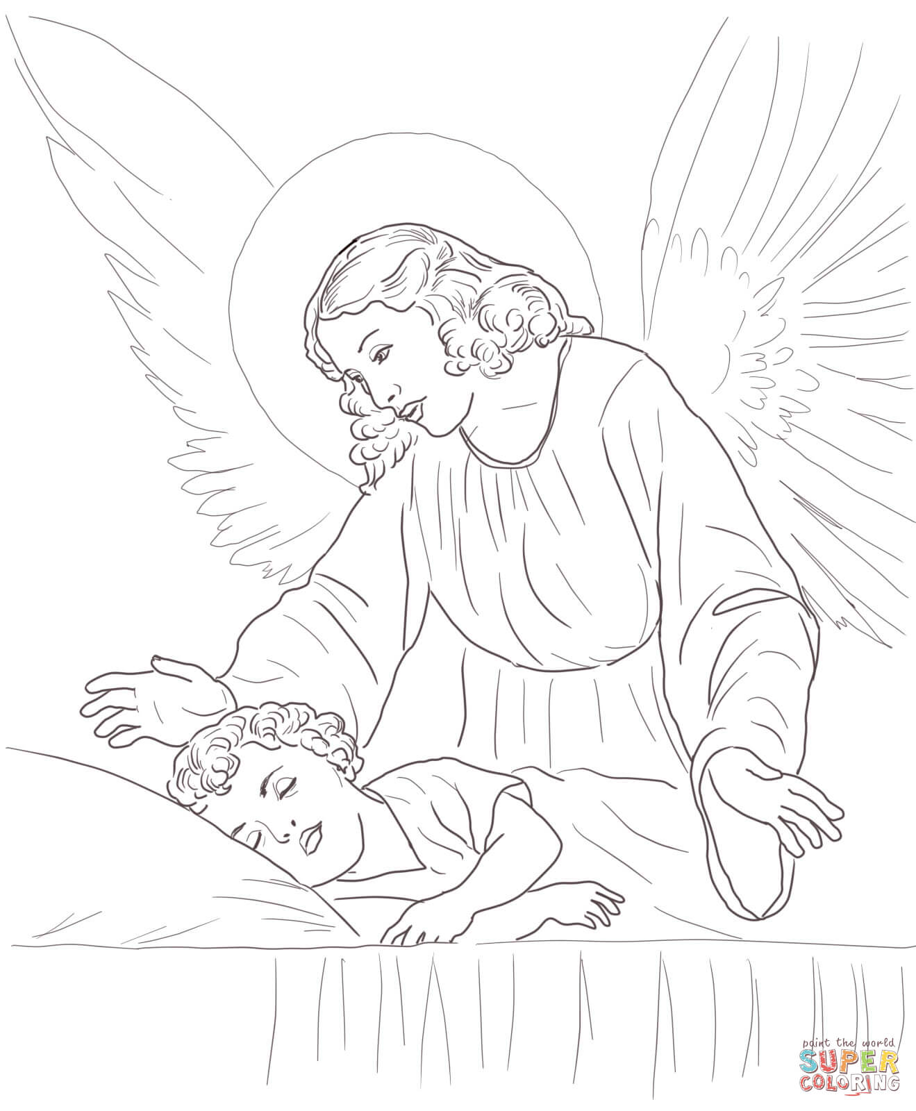 1319x1600 Guardian Angel Over Sleeping Child Coloring Page Free Printable