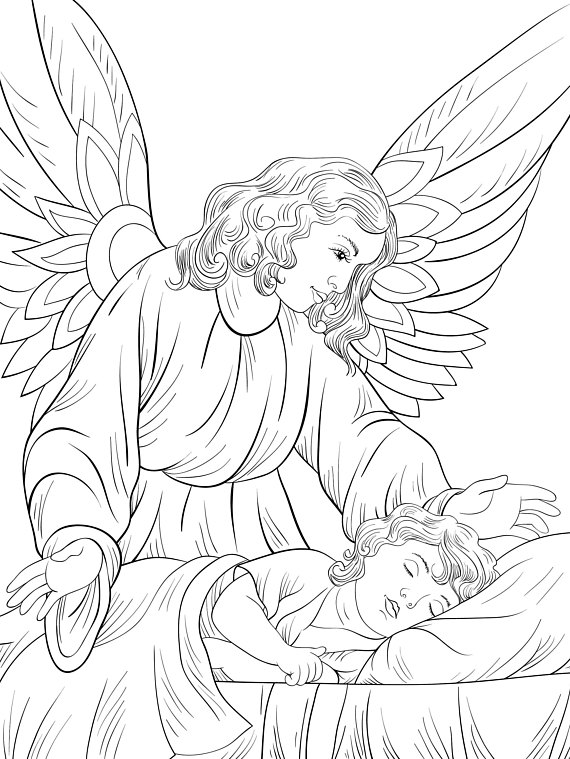 570x759 A Gardian Angel And Child Zentangle Coloring Page For Adults