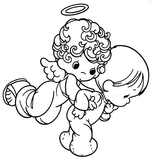 487x512 Angel Taking Care A Child Precious Moments Free Coloring Pages