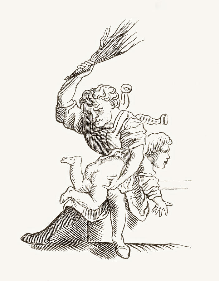 702x900 Drawing Of A Man Spanking A Child Drawing By Vintage Design Pics
