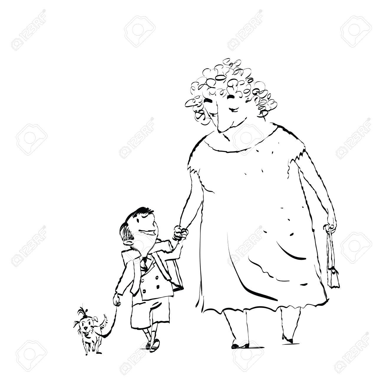 1300x1300 Grandma, Grandson And Dog On A Walk. Black And White Sketch