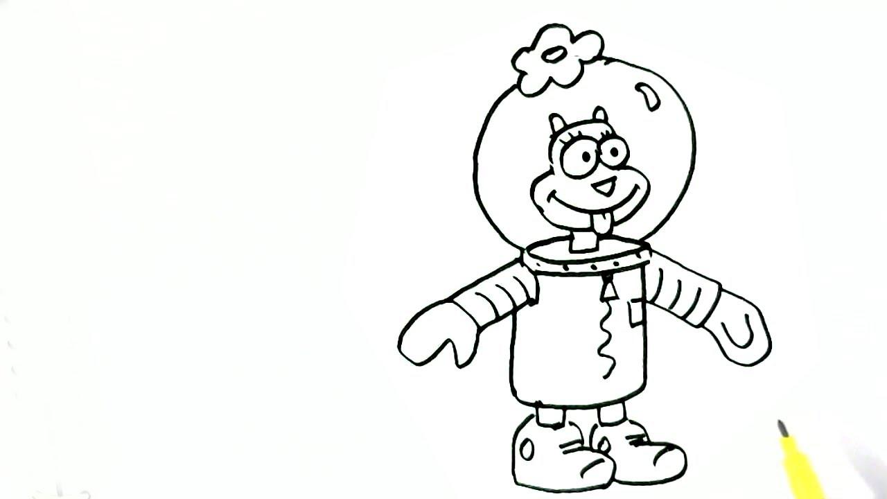 1280x720 How To Draw Sandy Cheeks Spongebob Squarepants Easy Steps