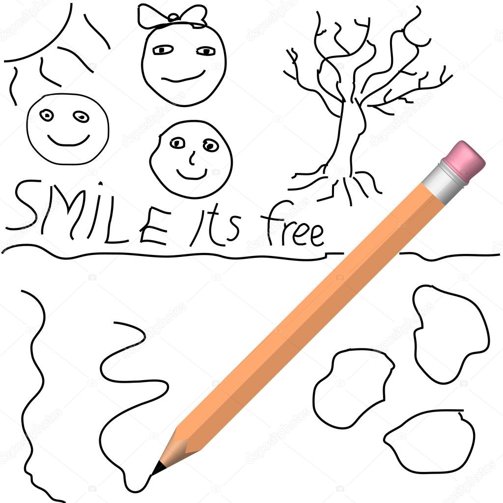 1024x1024 Vector Child Drawing With Pencil Stock Vector Robuart