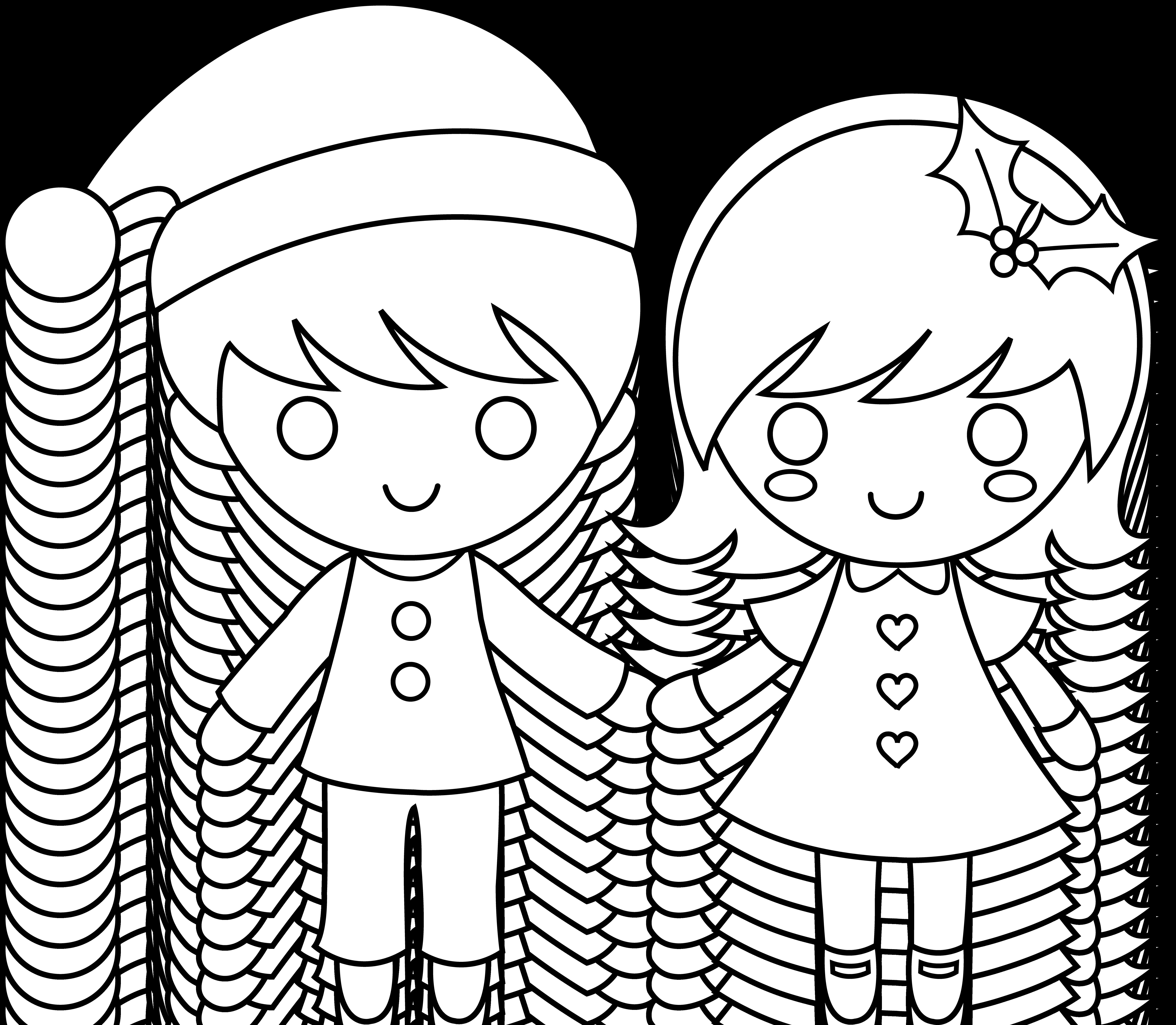7074x6164 Christmas Kids Line Art