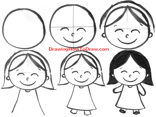 613x462 How To Draw Cartoon Girls With Easy Steps Tutorial For Kids