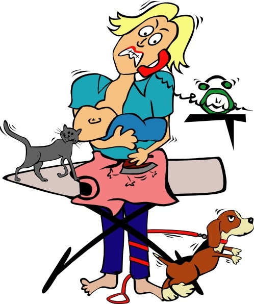 498x596 Busy Mom With Child And Pets Clip Art Free Vector In Open Office