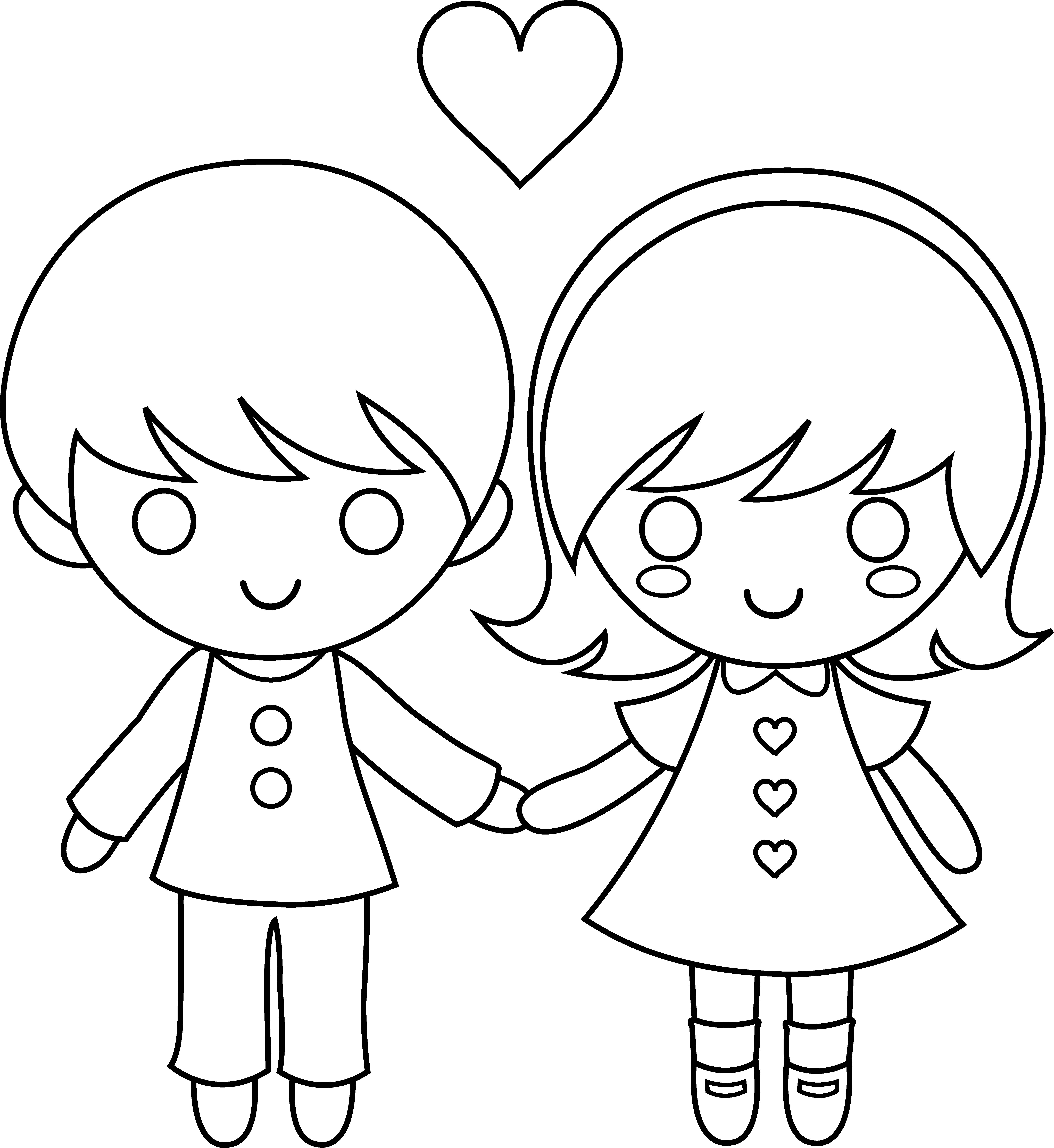 6197x6753 Colorable Valentines Day Kids