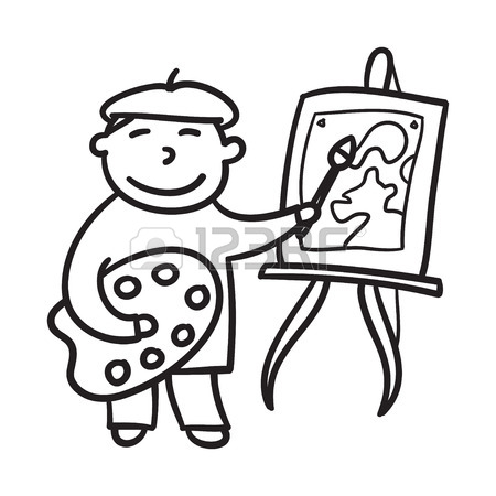 450x450 Boy Drawing Hand Drawn Vector Illustration. Child Painting. Little