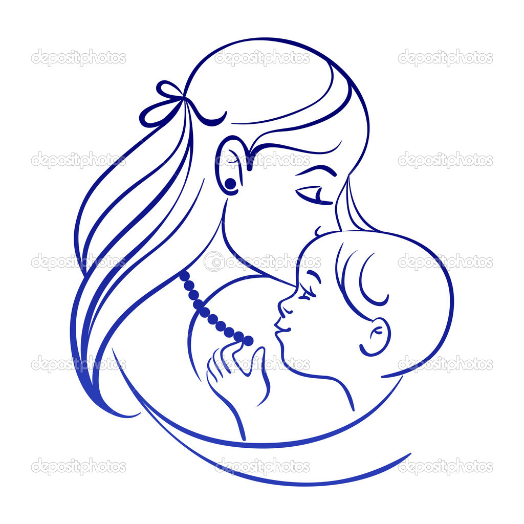 1024x1024 Mother And Baby Line Drawing Clipart Panda