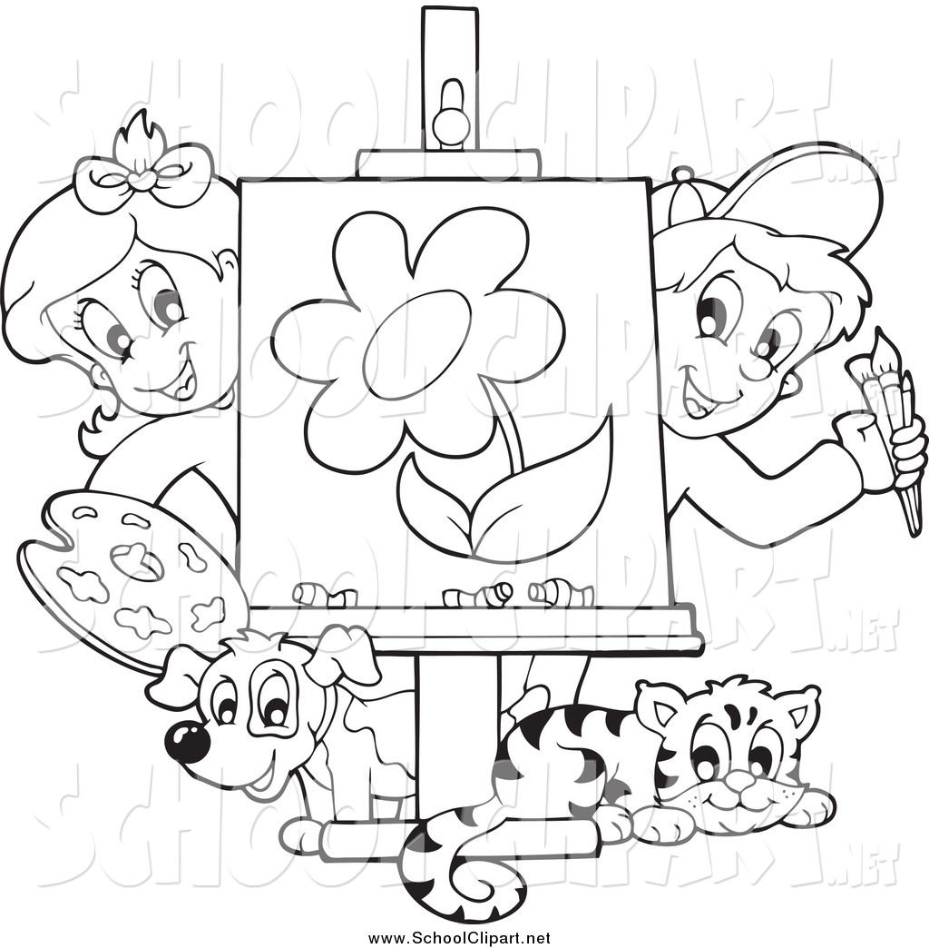 1024x1044 Clip Art Of Black And White Art Class Kids Presenting A Painting