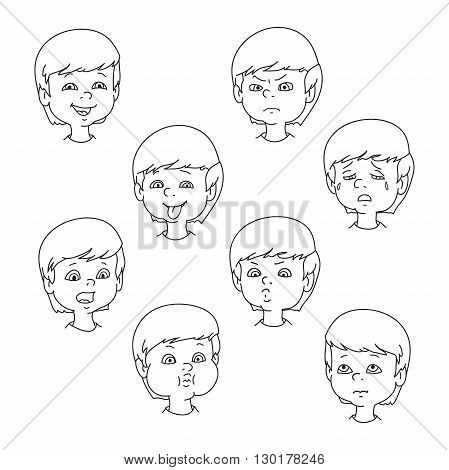 449x470 Child Face Emotion Gestures Black Vector Amp Photo Bigstock