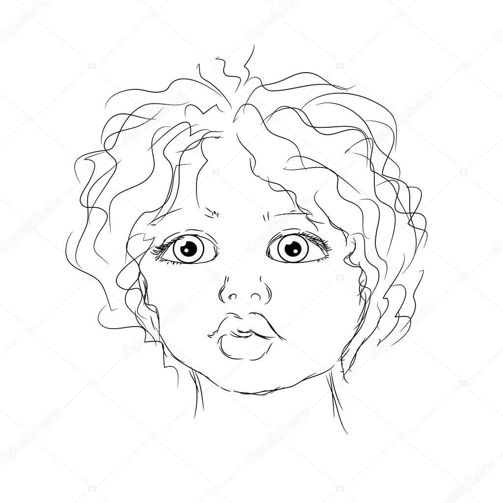 1024x1024 Contour Portrait Child Stock Vector Beatwalk