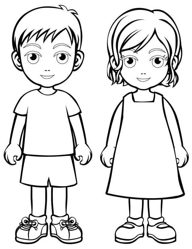 640x828 Blank Face Coloring Page Boy And Girl More