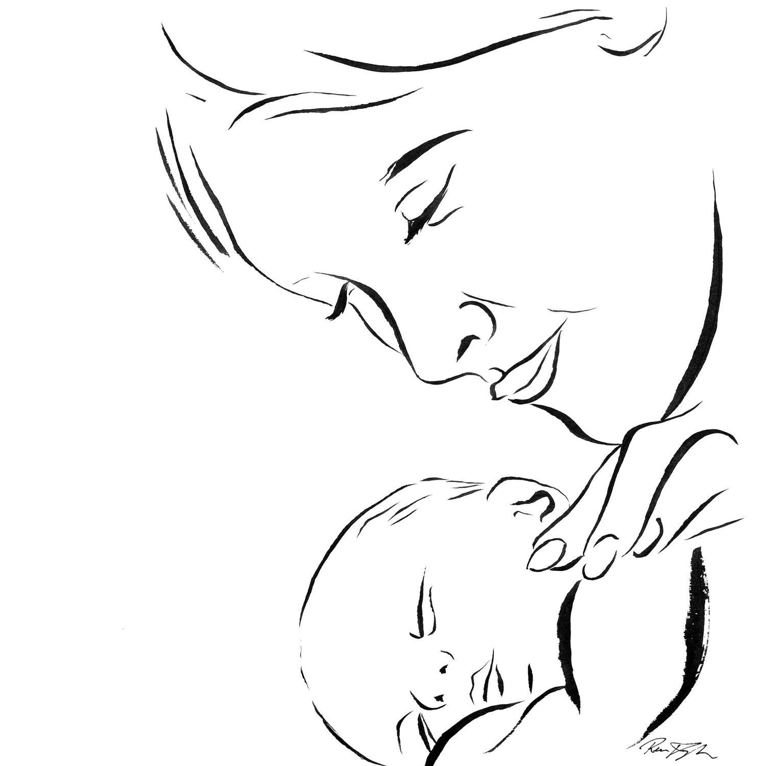 1500x1500 Mother With Child Drawing Mother And Child Realistic Art, Pencil
