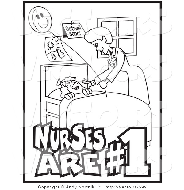 600x620 Vector Of Friendly Nurse Checking On Sick Child Resting In