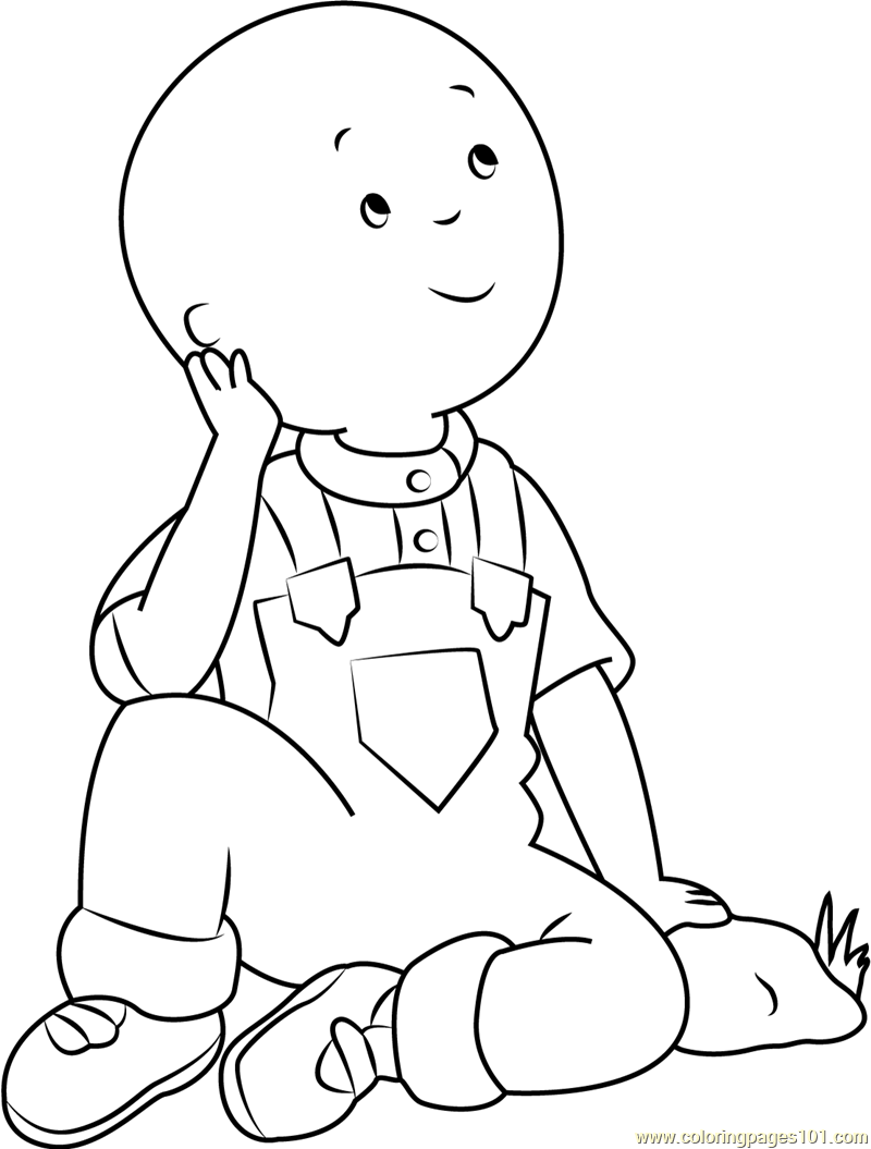 800x1055 Caillou Thinking Coloring Page