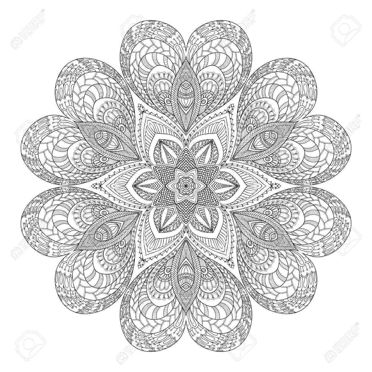 1299x1300 Decorative Mandala With Love Hearts. Coloring Book For Adult