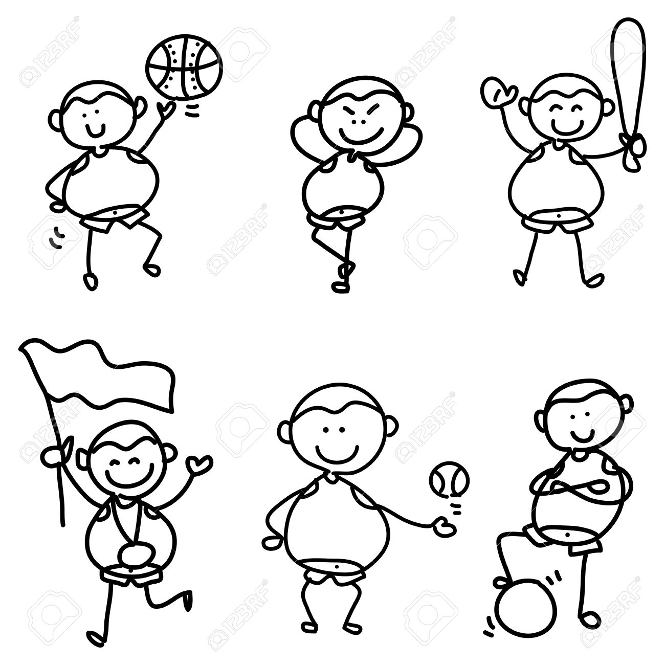 1300x1300 Cartoon Hand Drawing, Children Sport Icon Royalty Free Cliparts