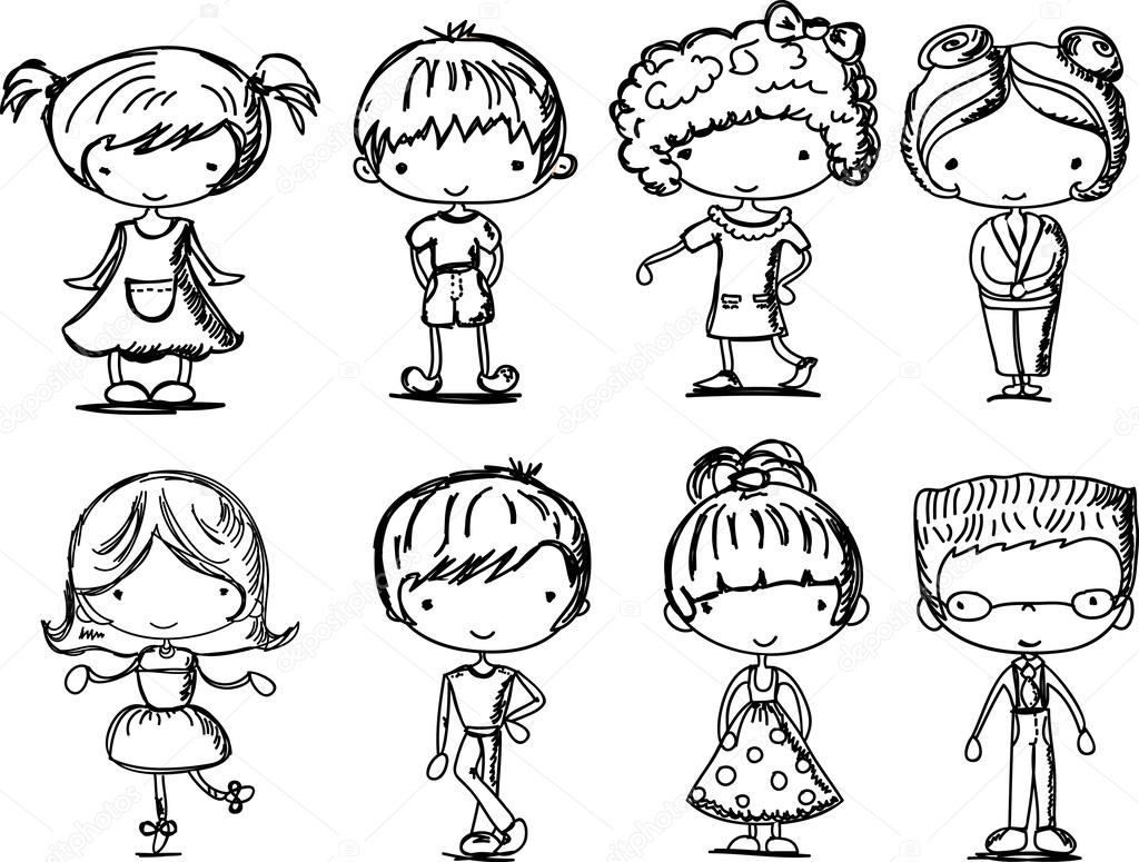 1024x775 Cartoon Drawings Of Fashionable Children Stock Vector