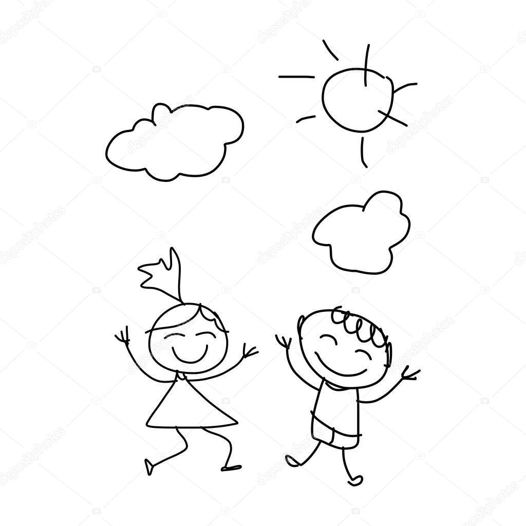 1024x1024 Hand Drawing Cartoon Of Dancing Children Stock Vector