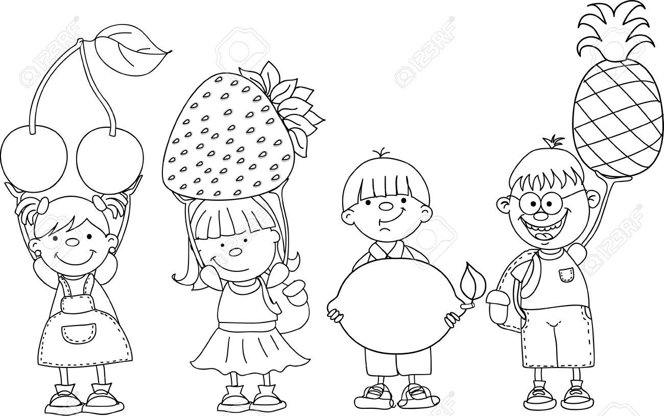 1300x814 Cartoon Children With Fruits Royalty Free Cliparts, Vectors,