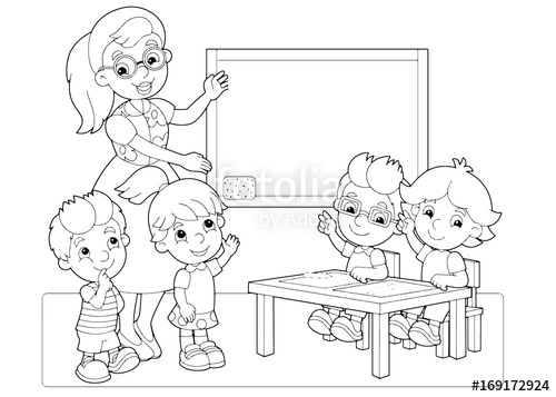 500x357 Cartoon Scene With Children And Teacher In The Classroom Holding