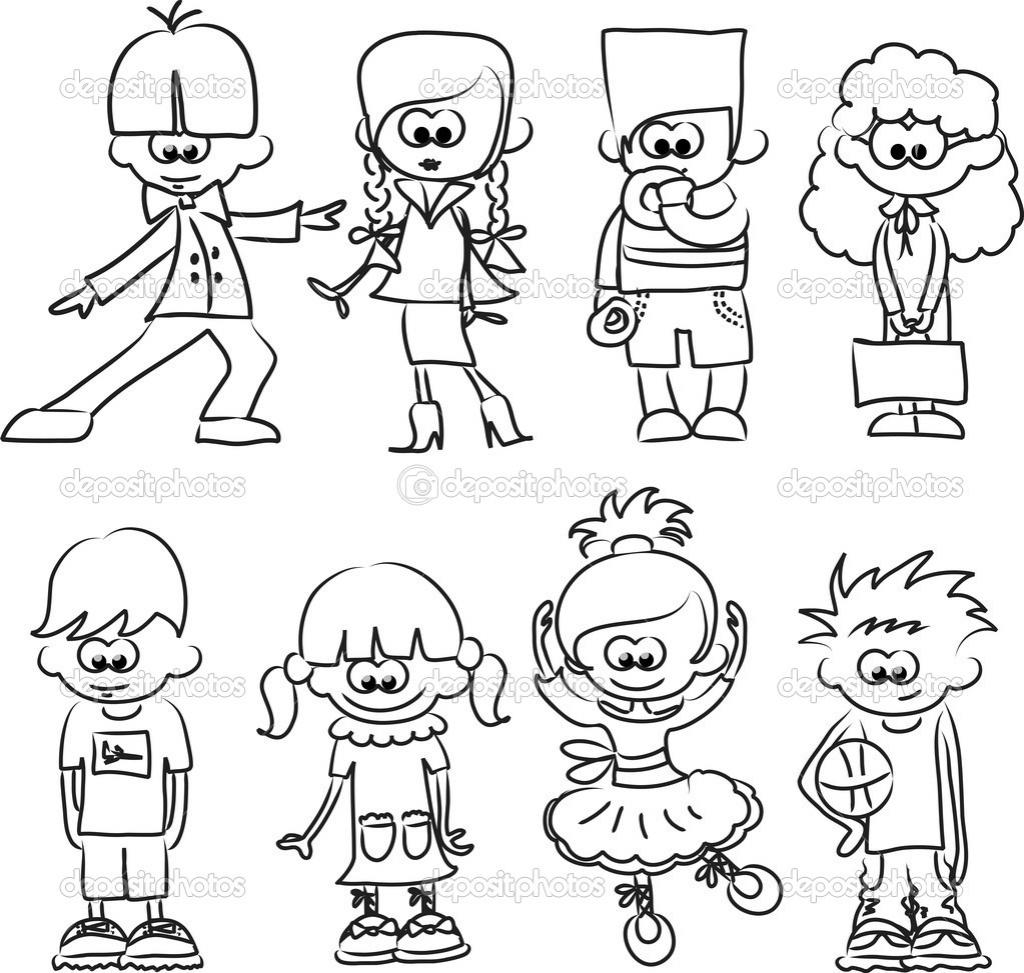 1024x973 Cartoon Drawing For Kids Cartoon Drawings Of Children Stock Vector