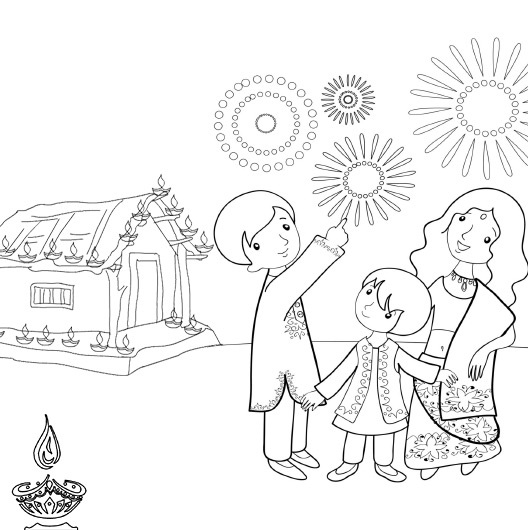 528x530 Deepavali Festival Drawing For Kids