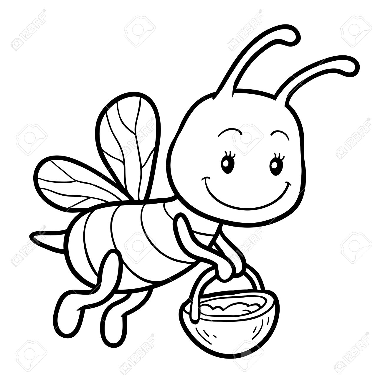 1300x1300 Coloring Book For Children, Coloring Page With A Small Bee Royalty