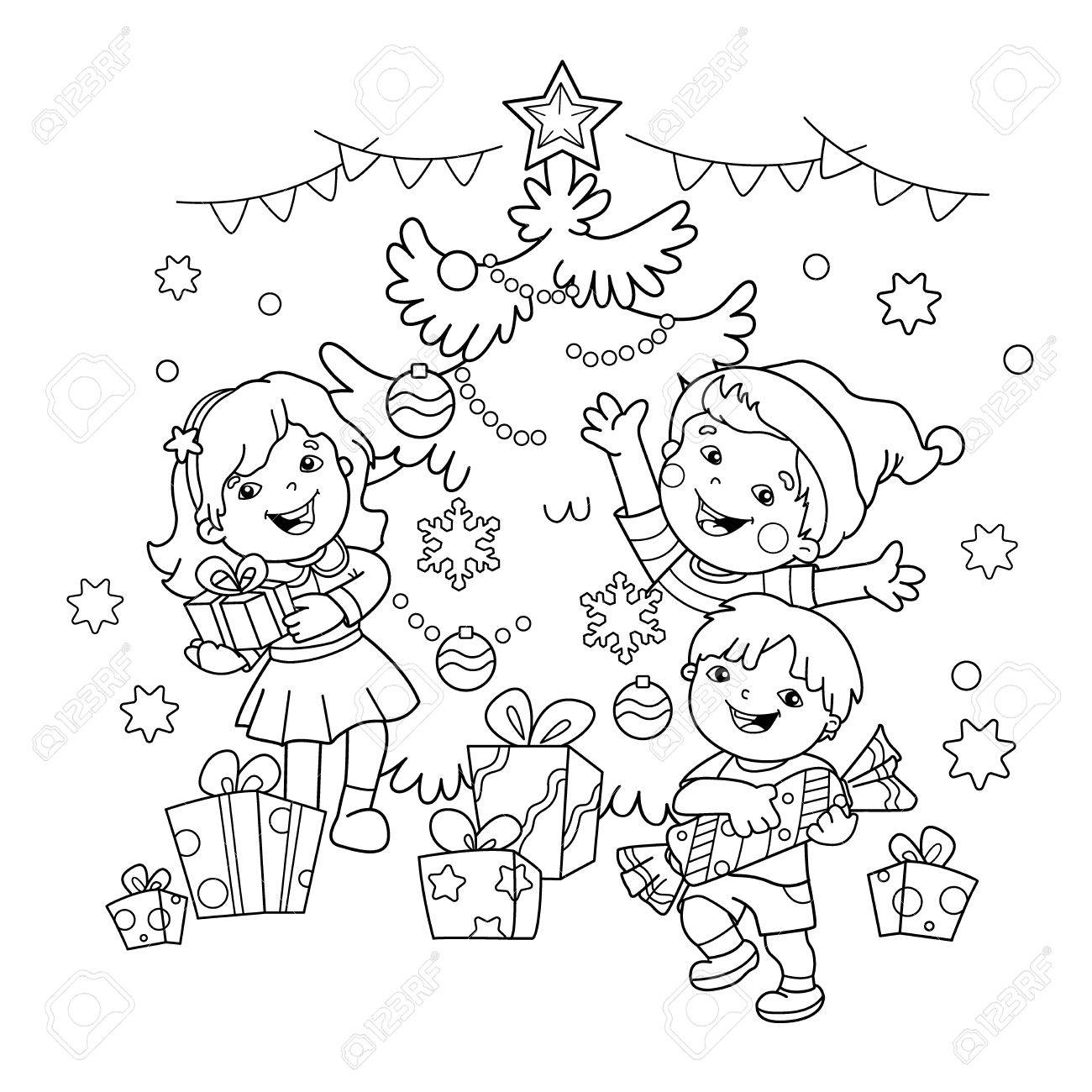 1300x1300 Coloring Page Outline Of Children With Gifts At Christmas Tree