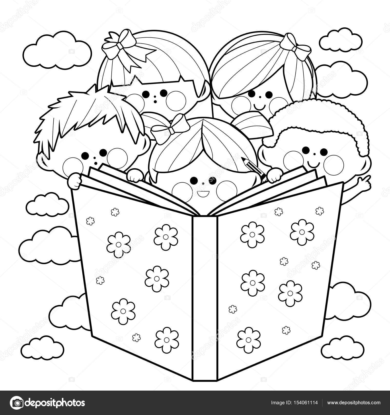 1600x1700 Group Of Kids Reading A Book. Black And White Coloring Book Page