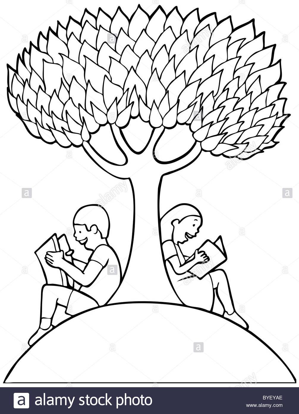 1006x1390 Children Reading Books Under A Tree