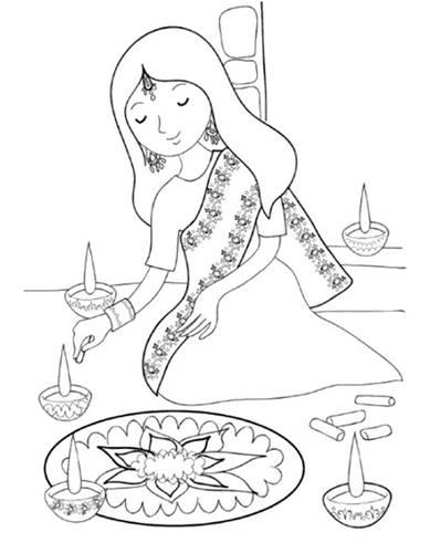 389x500 Diwali Paintings, Drawing Pictures, Scene, Diwali Sketch For Kids