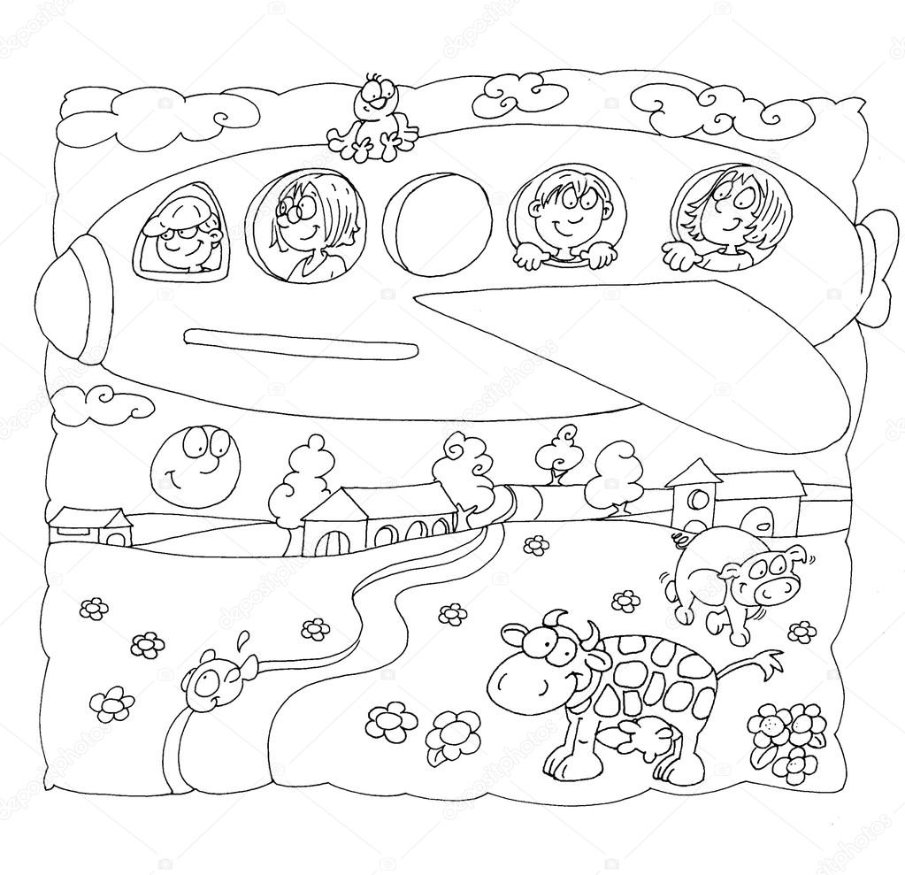 1023x989 Drawings To The Stretch To Be Colored Plane With Children Stock