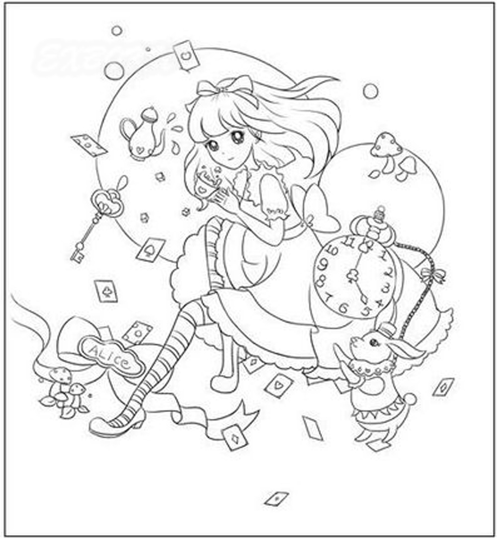 1000x1083 Pure Fill Flower Girl Painted Coloring Books For Adult Children