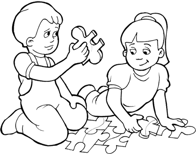 650x510 Kids Playing Games Puzzle Coloring Page Pages
