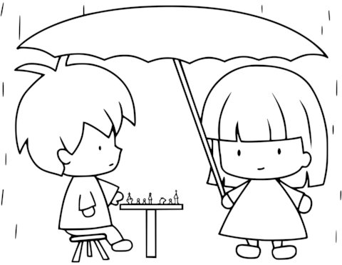 480x371 Children Playing Chess While Raining Coloring Page Free