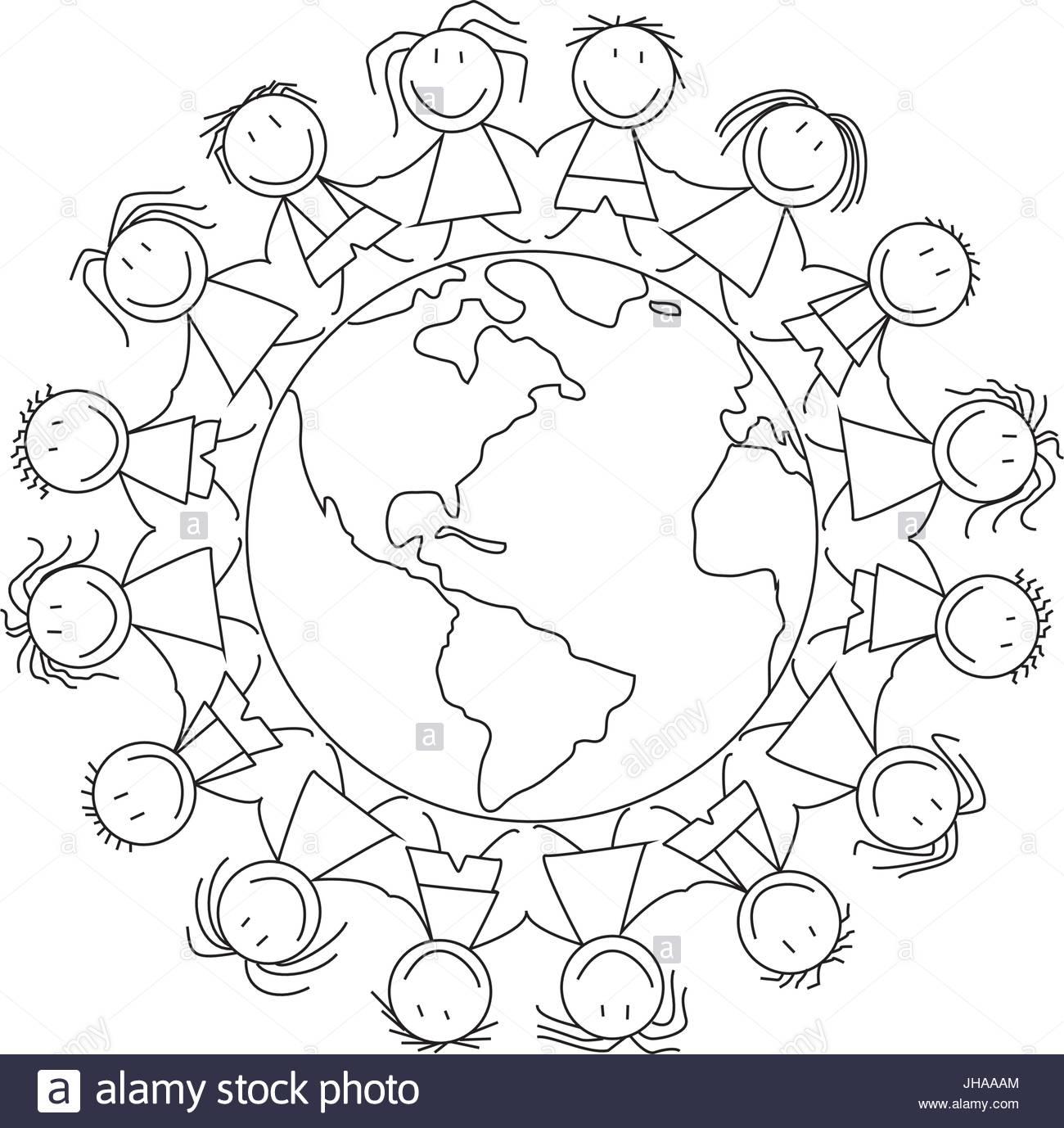 1300x1378 Kids Holding Hands On World